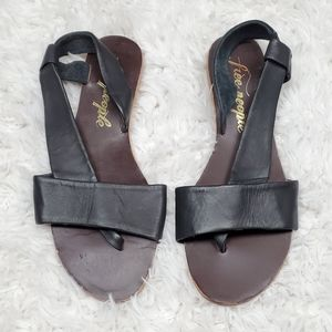 Free People Black Leather Sandals Size 39